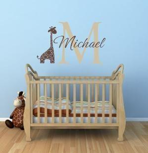 "Name and Initial Vinyl Wall Decals Giraffe Wall Decals Jungle Theme Decals Safari Boy Baby Nursery or Boys Room 22""H x 36""W Wall Art FS264"