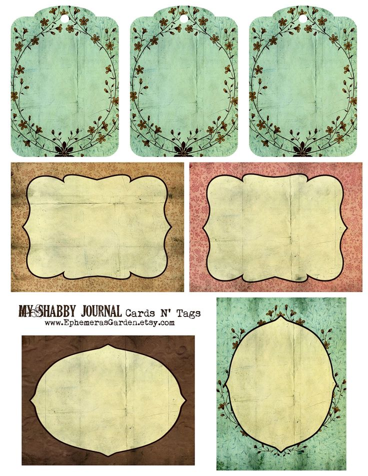 Ephemera's Vintage Garden: Weekly Freebie: Shabby Chic Journal Cards and Tags