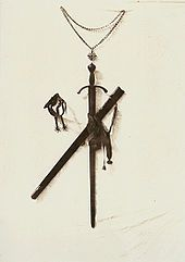 The sword of Godfrey of Bouillon displayed at the Church of the Holy Sepulchre in Jerusalem since 1808 (1854 photograph).  Godfrey seems to have always considered himself the protector of the Church. Not only did he make so many donations that William of Tyre despairs of enumerating them, not only did he cede a fourth of Jaffa (Joppa), the city of Jerusalem, and the tower of David to the patriarch Daimbert, but he consented, as did Bohemond, to receive investiture from the patriarch
