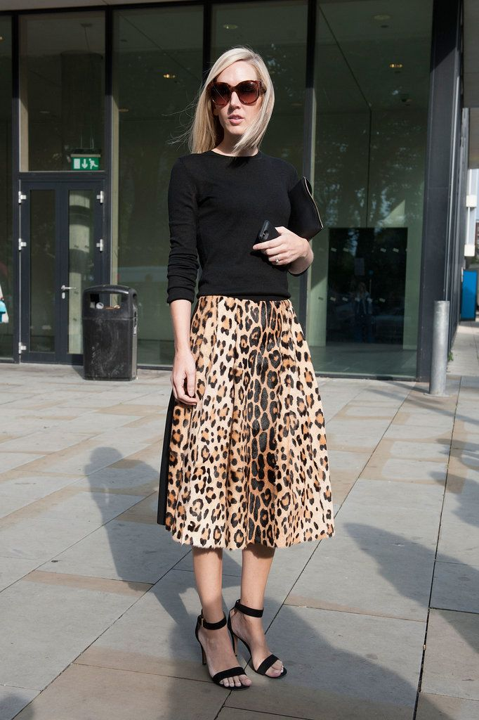 LFW Street Style Day 3: Jane Keltner de Valle pared down a notice-me leopard-print skirt with a black knit.