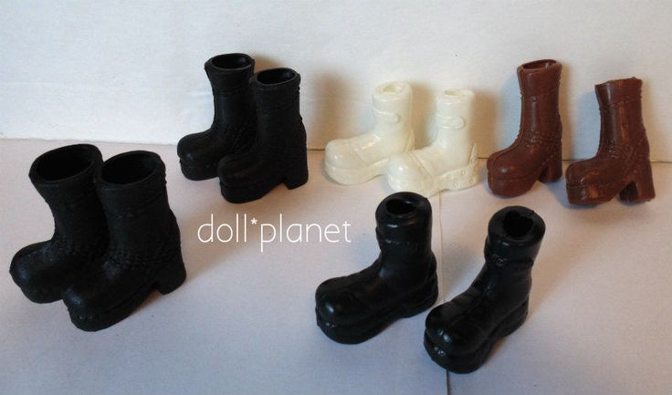 Lot of 5 pairs of DOLL BOOTS Black Combat Brown White fits Barbie Monster High  | eBay