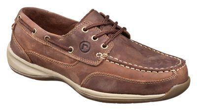 Rockport Works Sailing Club Steel Toe 3-Eye Boat Shoes for Men - Brown - 10.5 W
