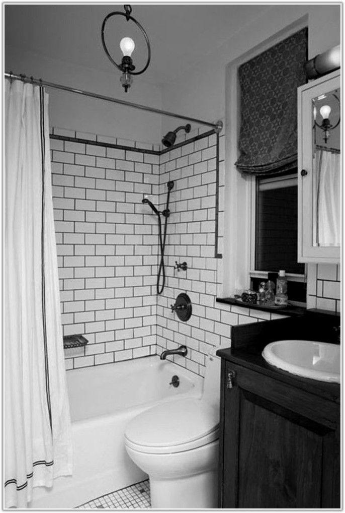 Black White Subway Tile Bathroom Tiles Home Decorating Small