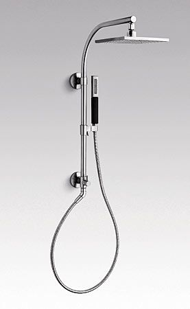 HydroRail-R shower column, $385, with Contemporary Square rain head, $645, and Shift Square hand shower, $113, at Kohler.