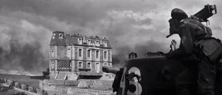 The resurrected Ouistreham casino 6 June 1944 - screen grab from the film The Longest Day. The real casino had been flattened to make way for a huge bunker.