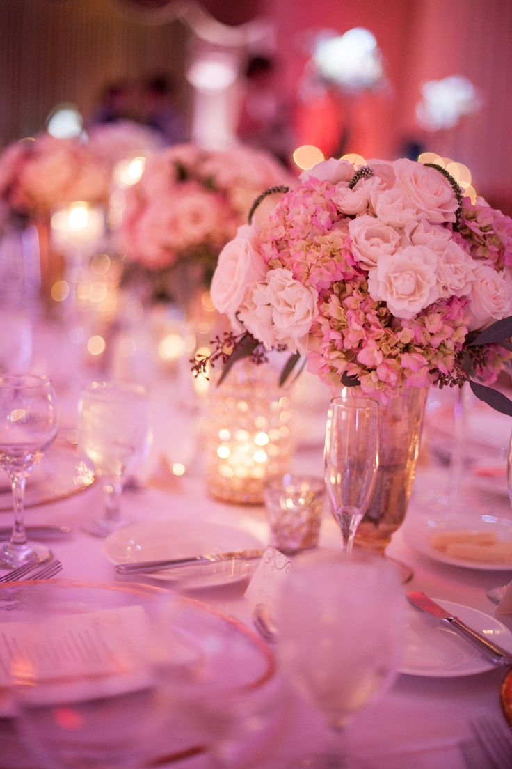 Pink Hydrangea and Rose Centerpiece
