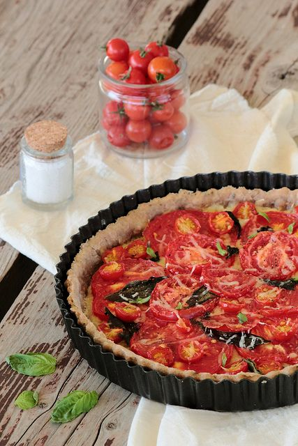 Garden Tomato & BasilTart.  Saving all of the basil and tomato recipies for for my bumper crop of tomatoes and basil.