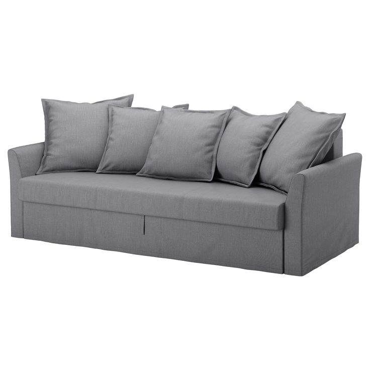 IKEA - HOLMSUND, Sleeper sofa, Nordvalla medium gray, , Cover made of extra durable polyester with a dense texture.Storage space under the seat.You can angle the loose back cushions any way you like, and adapt the seat depth and back support to suit your needs.The cover is easy to keep clean as it is removable and can be machine washed.This sofa converts into a spacious bed really quickly and easily, when you pull the underframe upwards and fold down the backrest
