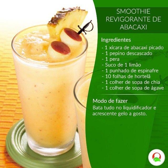 Que tal um #smoothie de abacaxi? Bom demais! #receitalight #light #fitness #saúde #dieta #vivalavida  #vidanova