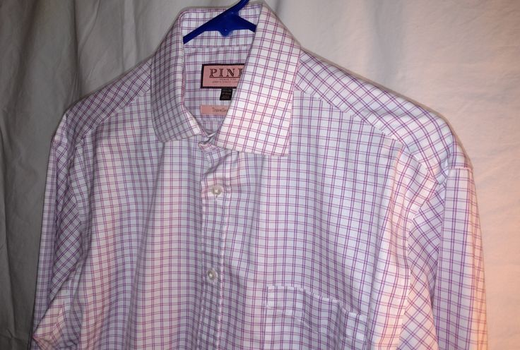 Thomas Pink Flannel Shirt Traveller Classic White Pink Checks Size 15.5 x 34   #ThomasPink #mens #casual #shirt #fashion