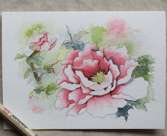 Pink Peony Watercolor Painted Card Landscape by SunsetPeonies