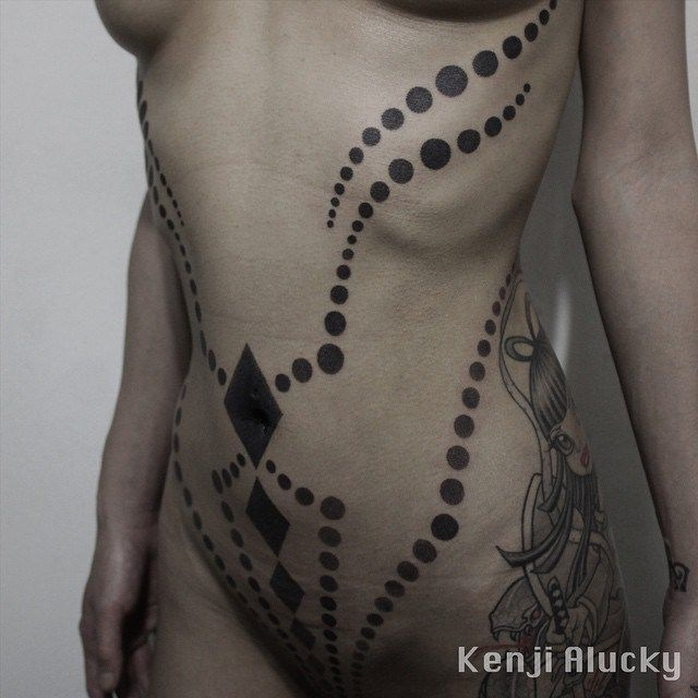 Black Dots and Rhombuses Blackwork Stomach tattoo by Kenji Alucky | best tattoo ideas