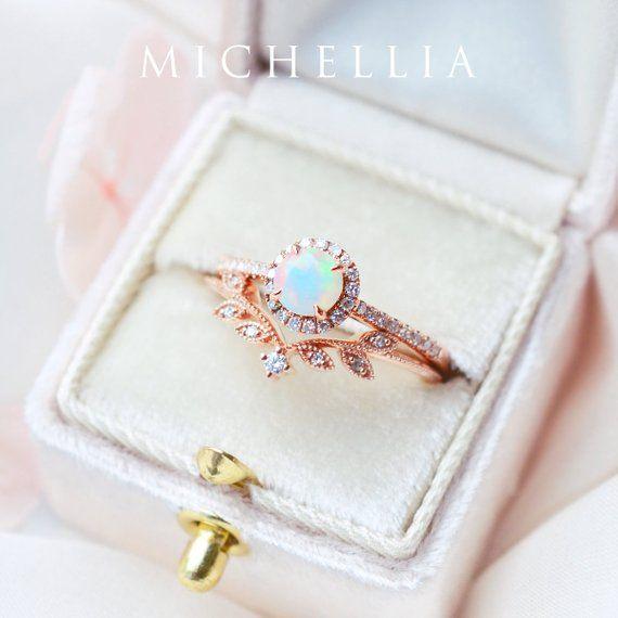Petite Halo Diamond Ring in Opal Ethiopian Fire Opal Halo | Etsy