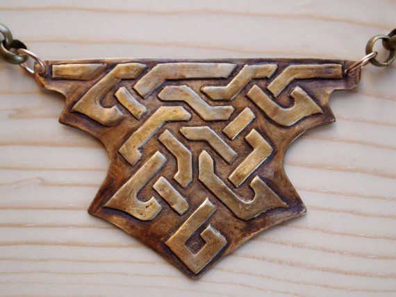Celtic Knot Bronze Clay Necklace by ShannonMGreenJewelry on Etsy, $40.00