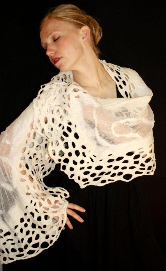 White Nuno Felt Lace Shawl Wrap by JHILLartisanfelt on Etsy, $90.00