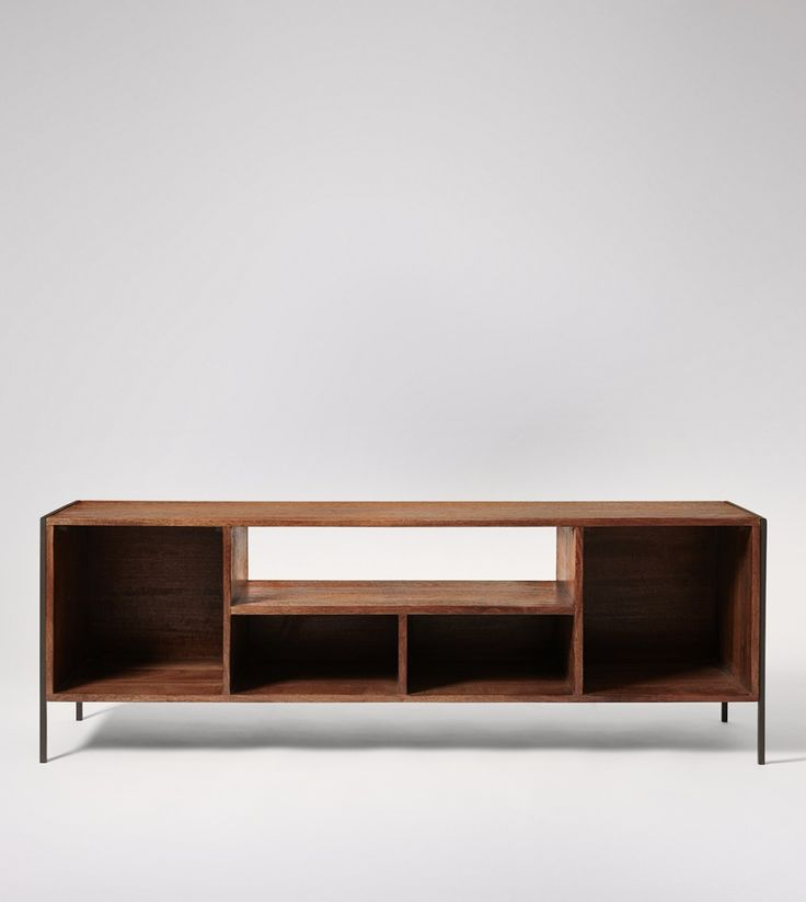 Boston Media Unit In Dark Mango Wood & Charcoal