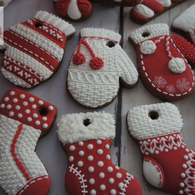 #DIY #handmade #hand painted #gingerbread #cookies #christmas #stockings #gloves #candy canes #white #red #royal icing #knitted #maybe a cookie