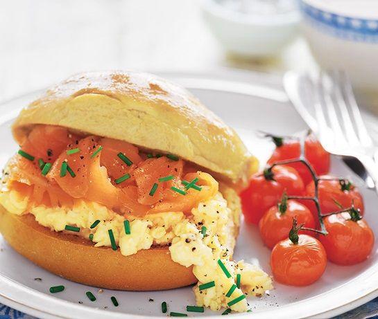 Brioche roll with smoked salmon & scrambled egg | ASDA Recipes