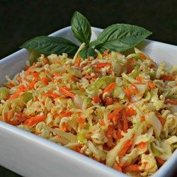 Chinese Cabbage Salad - Allrecipes.com.  I added sunflower butter and mayo to the dressing and used soy and teriyaki sauce instead of ramen seasoning (msg). I also added chopped almonds and oranges to the salad. Excellent!  5yo loved it.