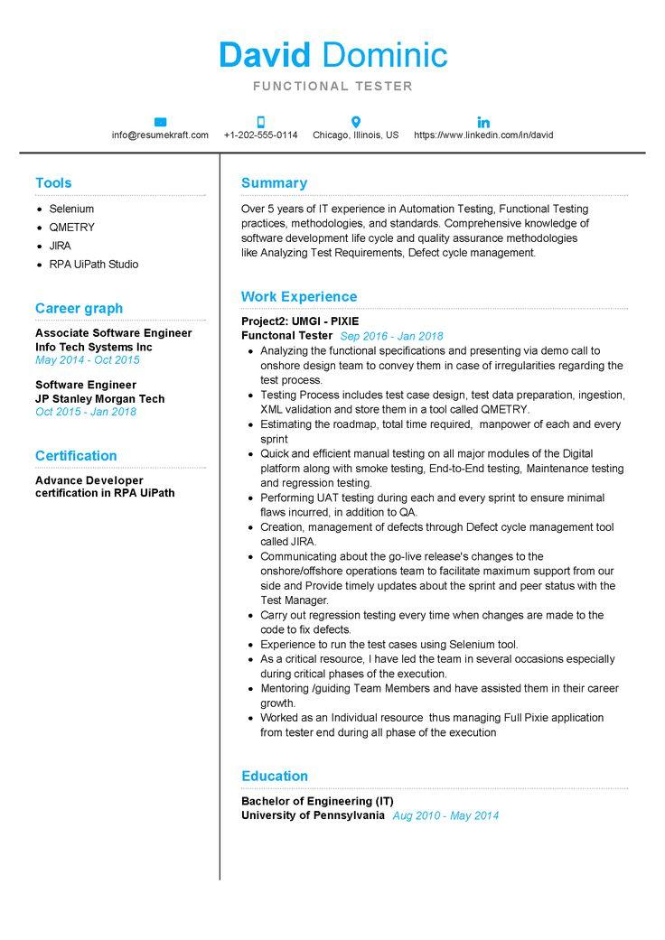 Functional tester resume sample in 2020 resume