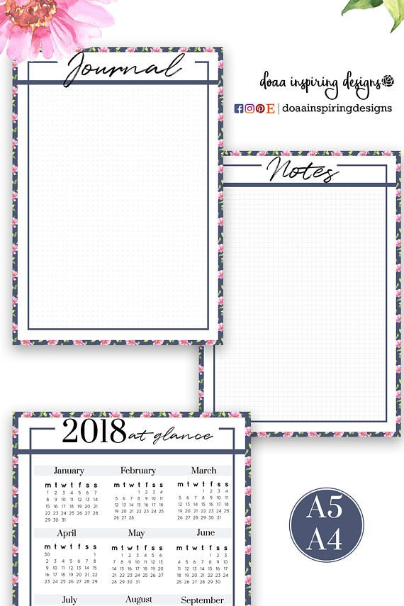 2018 Monthly printable planner , floral planner , A5 inserts , MO2P , monthly template , 2018 agenda , dotted journal , notes pdf planner