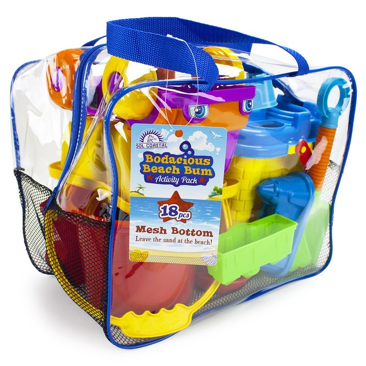 18-Piece Bodacious Beach Bum Activity Pack in Handy Carry Bag with Quick-Dry Mesh Bottom by Sol Coastal. COLORFUL FUN: 18 hardy and colorful sand toys packed into one bag for hours of beachy fun. PLAY AND LEARN: So many sensory experiences! Sifters, shovels, rakes, two pails, a watering can, even a dump truck. ENDLESS POSSIBILITIES: Moisten sand with the can, move it with the truck, pack it into the molds, and build a big castle!. PORTABLE: Pack all your sand toys into the handy carry…