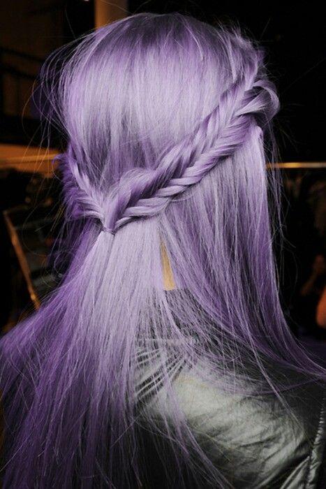 Pastel Lilac Purple Hair Fishtail Back Braids
