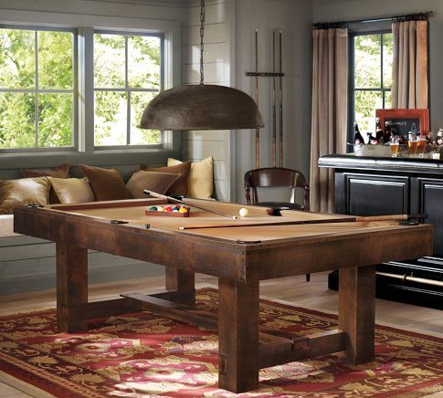 Pottery Barn Pool Table | Pottery BarnGame Rooms, Potterybarn, Man Cavs, Games Room, Pool Tables, Pools Tables Room, Rustic Wood, Pottery Barns, Man Caves