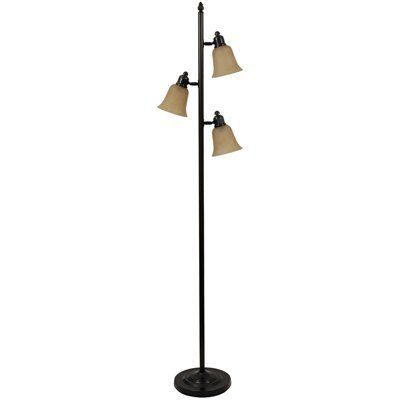 72 in 3 light bronze floor lamp with champagne shade floor lamps. Black Bedroom Furniture Sets. Home Design Ideas