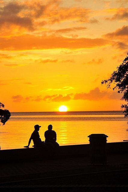 Sunset over the Gulf of Paria, Port of Spain, Trinidad  by Mike Scott
