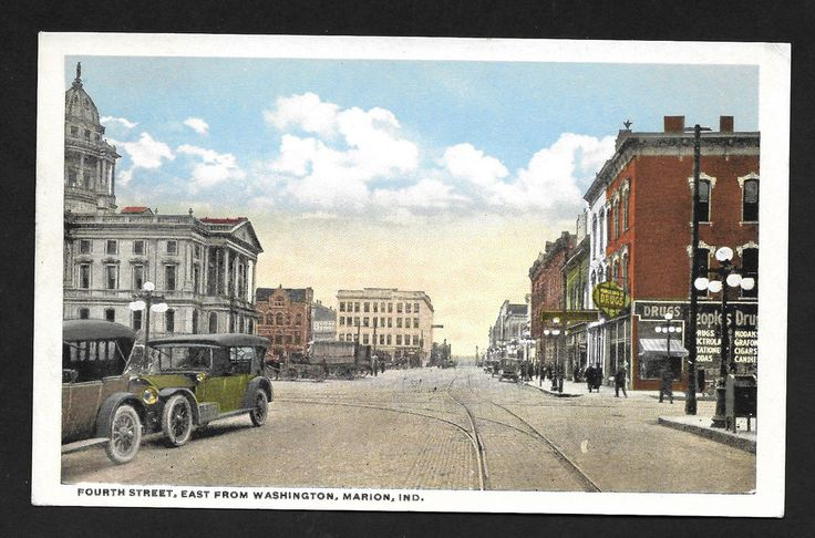 Fourth Street East from Washington Marion Indiana IN street view auto postcard