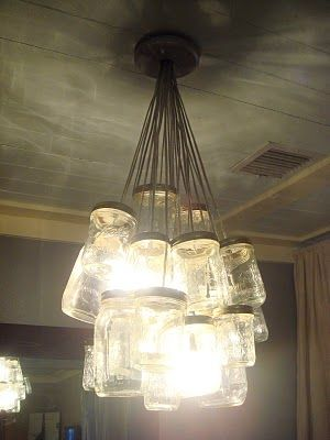 Mason jar chandelier... I can see this on my outdoor room... on a dimmer switch...