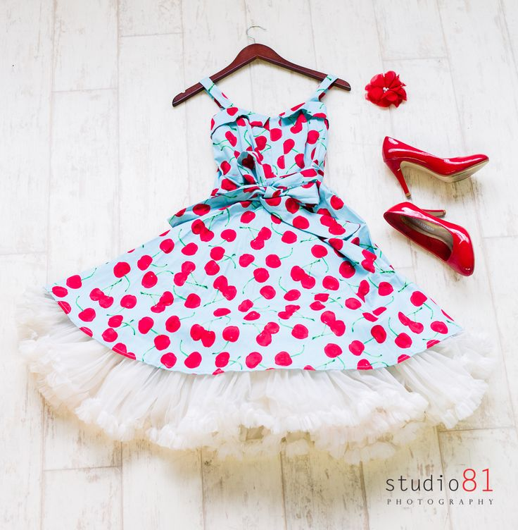 Blue Cherry Dress (Size 6 and 14), Cream Petticoat, Red Heels (Size 9), Red and Pearl Diamond Flower