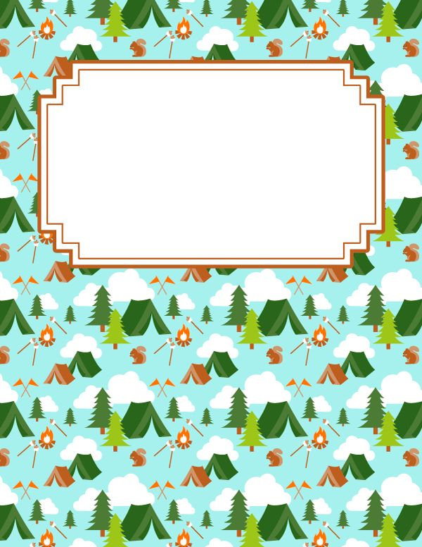 Free printable camp binder cover template. Download the cover in JPG or PDF format at http://bindercovers.net/download/camp-binder-cover/