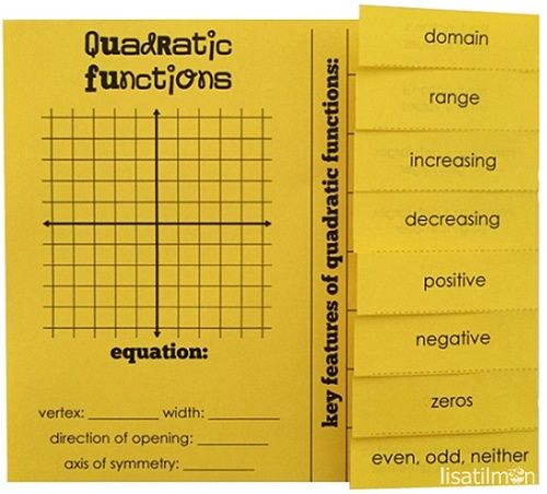 This Quadratic Functions: Key Features foldable can be used as a summary tool for your interactive notebooks. Or the foldable can be used as a record sheet for my Quadratic Functions: Matching Game. Includes graphing, algebraic equation, and characteristics such as domain and range; increasing and decreasing; positive and negative; zero(s); and even, odd or neither.