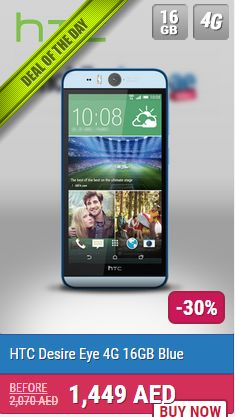 HTC desire eye is an awesome phone, because of its front camera that place on the middle top. http://mobileshop.ae/desire-eye-4g