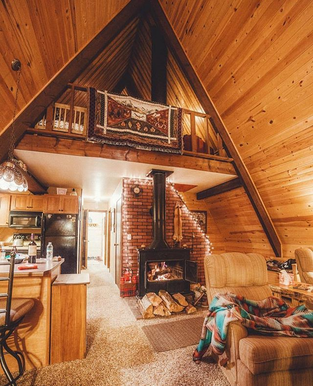 25 best ideas about small cabin interiors on pinterest for Small a frame cabin plans with loft