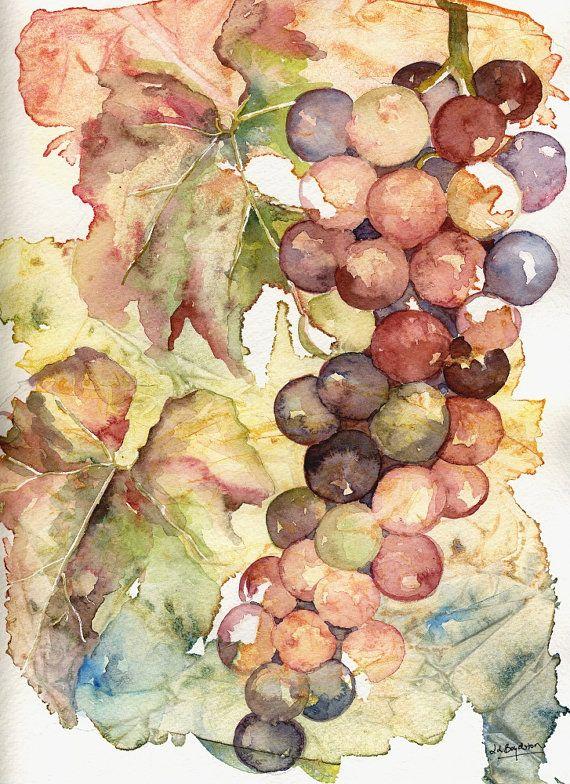 Original Watercolor Paintings   Original Heavenly Grapes Watercolor Painting