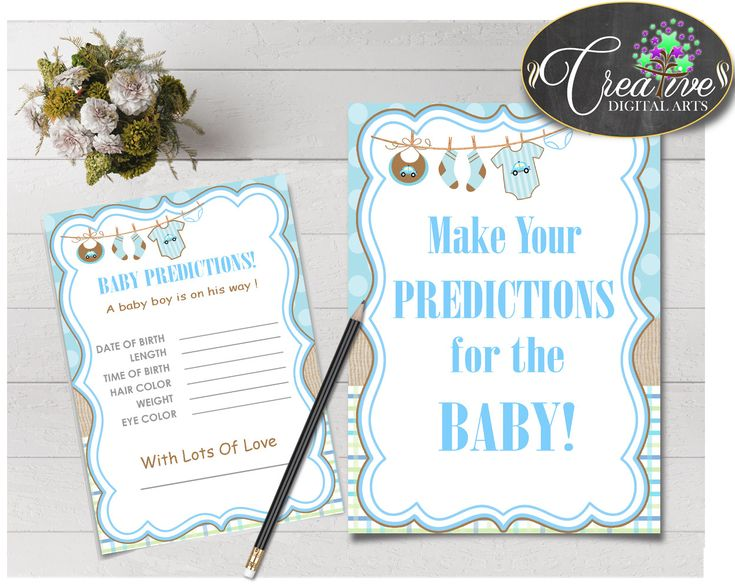 PREDICTIONS FOR BABY sign and cards activity printable for baby shower with blue clotheline and blue color theme, instant download - bc001 #babyshowergames #babyshowerdecorations