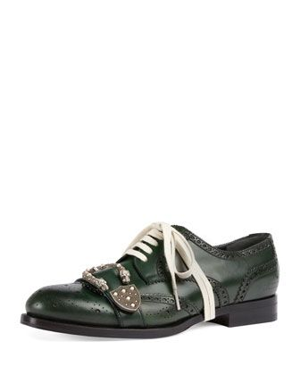Queercore+Spirit+Buckle+Lace-Up+Brogue+Shoe+by+Gucci+at+Bergdorf+Goodman.