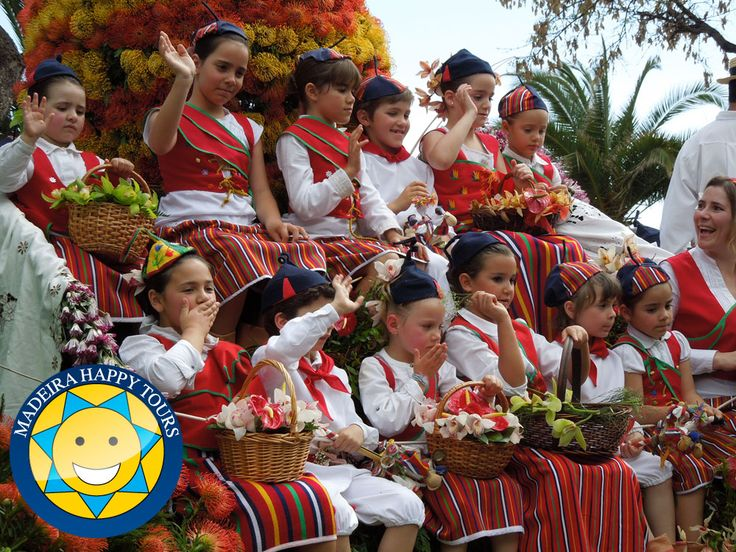 Traditions and people from Madeira island. Happiness from native children.