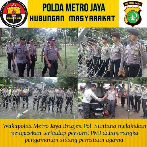 Wakapolda Metro Jaya Lakukan Pengecekan Personil PMJ dalam Pengamanan Sidang Ahok