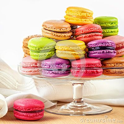 Stock Photo about French colorful macarons in a glass cake stand