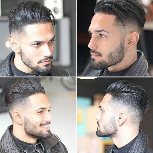 Long Comb Over with High Fade and Beard