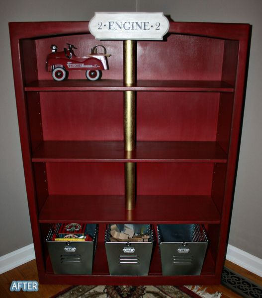 so i don't have a little boy to do this for, but i just had to pin because it's so stinkin cute!  (the before was just a regular light wood book shelf).