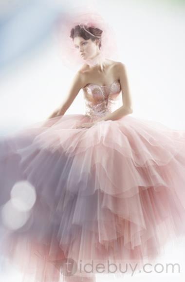 ボールガウンスイートハートチュールイブニングドレス