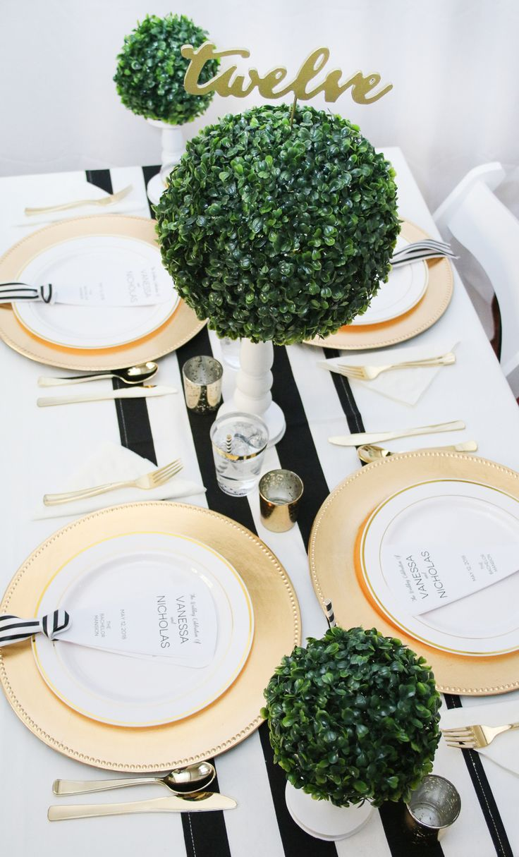 Preppy Wedding Inspiration - Black, White, Gold and Green