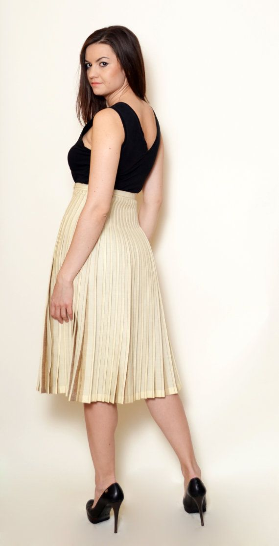 40% Off Xmas Sale Beige Skirt High Waisted by SixVintageChicks