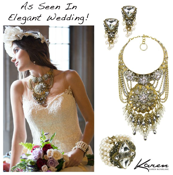 As Seen In Elegant Wedding Magazine! Bridal Designs by Karen McFarlane Styling: The Fashion Conspiracy Photography: Boston Avenue Fine Photography Necklace: http://jewellerybykaren.com/boutique/necklaces/necklace-1075n Earrings: http://jewellerybykaren.com/boutique/new-designs/earrings-1053e Cuff: http://jewellerybykaren.com/boutique/new-designs/bracelet-1032b