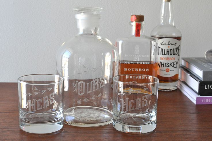 Hers/Hers/Ours Decanter Set. Same-sex wedding gift. Also in His/His, and His/Hers.